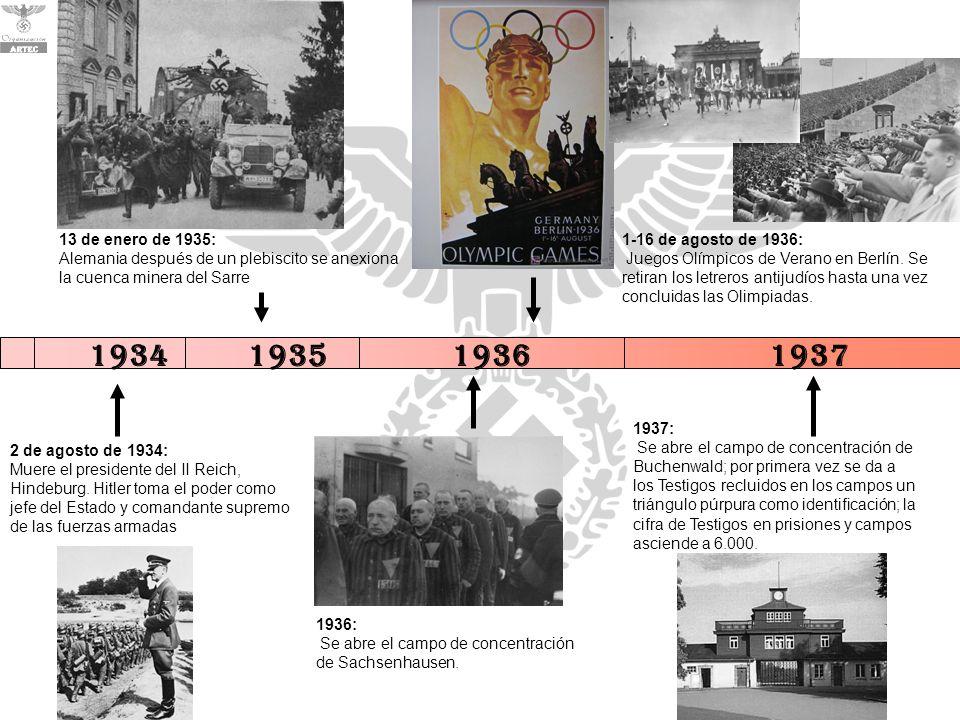 1936: Se abre el campo de concentración de Sachsenhausen. 1-16 de agosto de 1936: Juegos Olímpicos de Verano en Berlín. Se retiran los letreros antiju