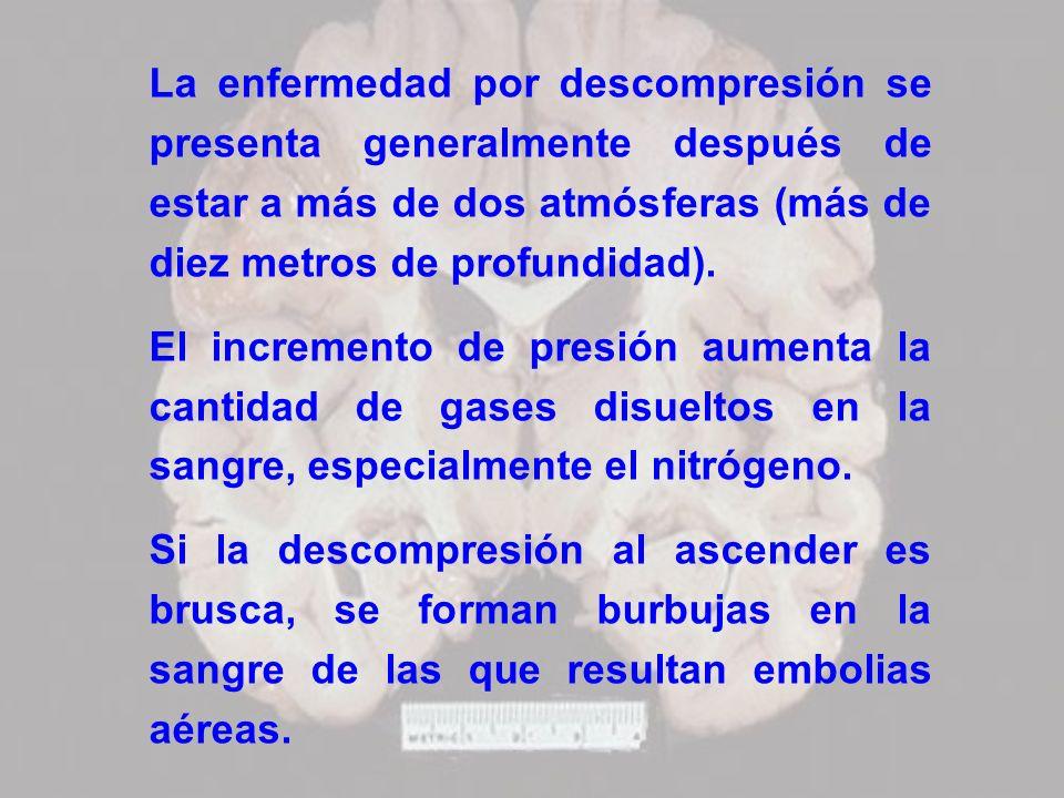 La enfermedad por descompresión se presenta generalmente después de estar a más de dos atmósferas (más de diez metros de profundidad). El incremento d