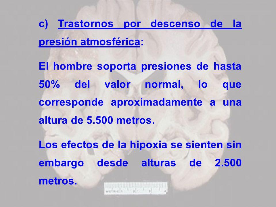 c) Trastornos por descenso de la presión atmosférica: El hombre soporta presiones de hasta 50% del valor normal, lo que corresponde aproximadamente a