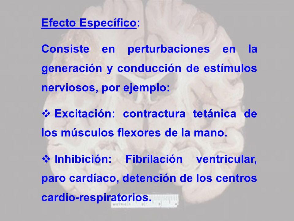 Efecto Específico: Consiste en perturbaciones en la generación y conducción de estímulos nerviosos, por ejemplo: Excitación: contractura tetánica de l