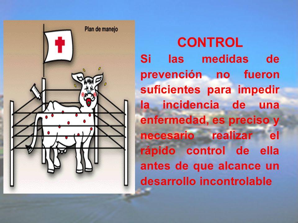 CONTROL Si las medidas de prevención no fueron suficientes para impedir la incidencia de una enfermedad, es preciso y necesario realizar el rápido con