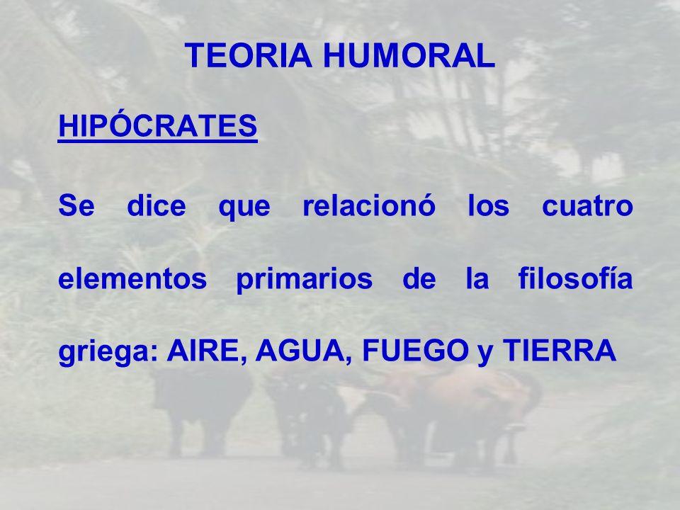 TEORIA HUMORAL HIPÓCRATES Se dice que relacionó los cuatro elementos primarios de la filosofía griega: AIRE, AGUA, FUEGO y TIERRA