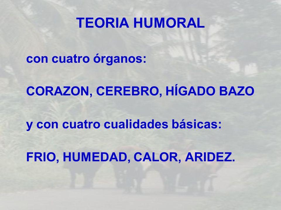 TEORIA HUMORAL con cuatro órganos: CORAZON, CEREBRO, HÍGADO BAZO y con cuatro cualidades básicas: FRIO, HUMEDAD, CALOR, ARIDEZ.