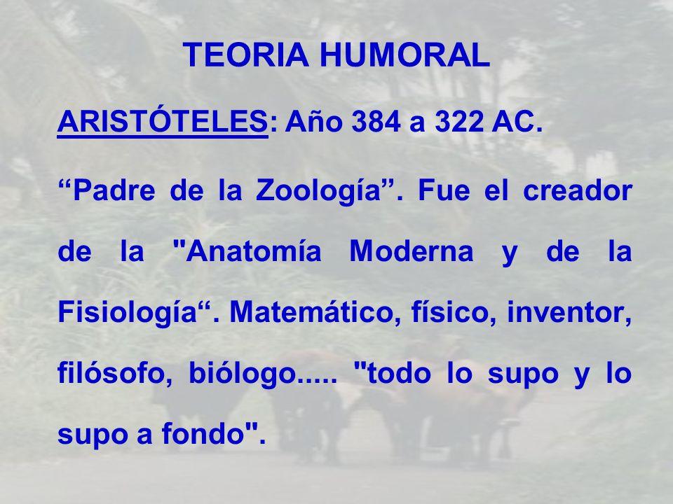 TEORIA HUMORAL ARISTÓTELES: Año 384 a 322 AC. Padre de la Zoología. Fue el creador de la