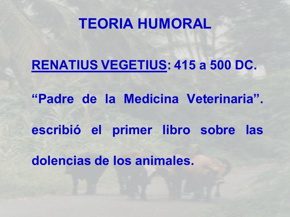 TEORIA HUMORAL RENATIUS VEGETIUS: 415 a 500 DC. Padre de la Medicina Veterinaria. escribió el primer libro sobre las dolencias de los animales.