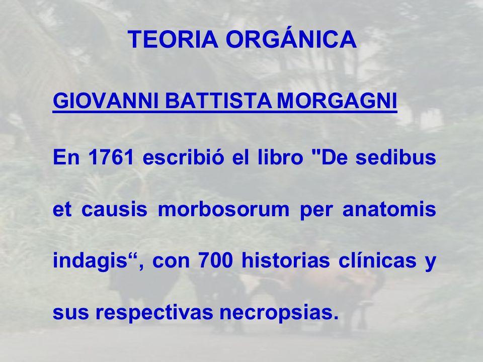 TEORIA ORGÁNICA GIOVANNI BATTISTA MORGAGNI En 1761 escribió el libro