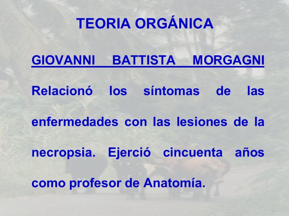 TEORIA ORGÁNICA GIOVANNI BATTISTA MORGAGNI Relacionó los síntomas de las enfermedades con las lesiones de la necropsia. Ejerció cincuenta años como pr