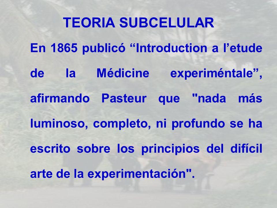 TEORIA SUBCELULAR En 1865 publicó Introduction a letude de la Médicine experiméntale, afirmando Pasteur que