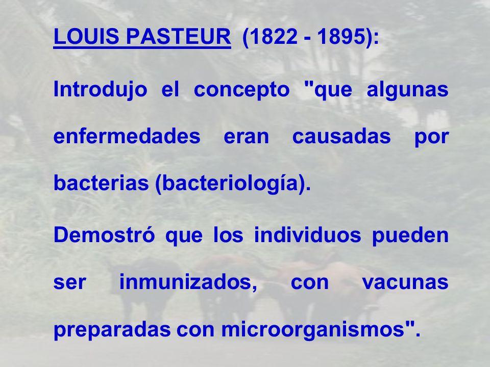 LOUIS PASTEUR (1822 - 1895): Introdujo el concepto