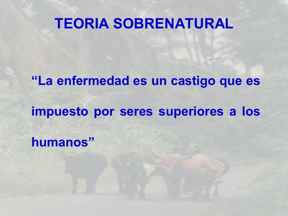 TEORIA SOBRENATURAL La enfermedad es un castigo que es impuesto por seres superiores a los humanos
