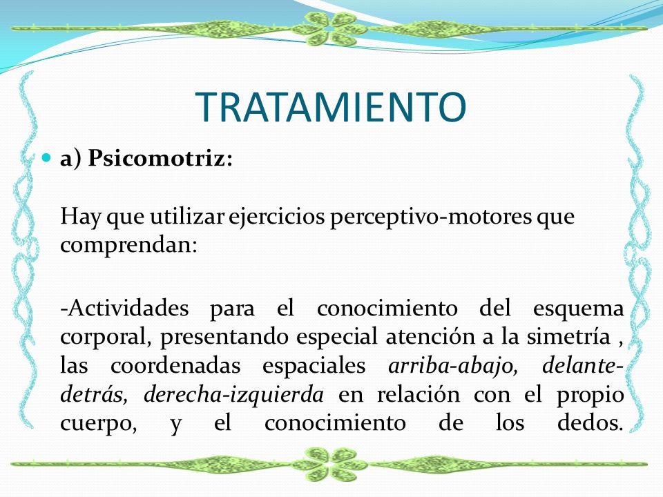 TRATAMIENTO a) Psicomotriz: Hay que utilizar ejercicios perceptivo-motores que comprendan: -Actividades para el conocimiento del esquema corporal, pre