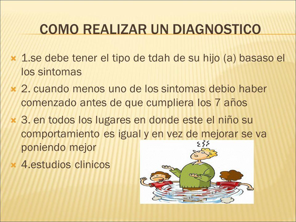 COMO REALIZAR UN DIAGNOSTICO 1.se debe tener el tipo de tdah de su hijo (a) basaso el los sintomas 2.