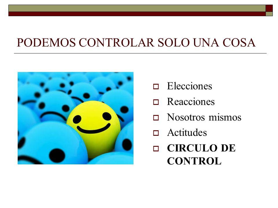 PODEMOS CONTROLAR SOLO UNA COSA Elecciones Reacciones Nosotros mismos Actitudes CIRCULO DE CONTROL