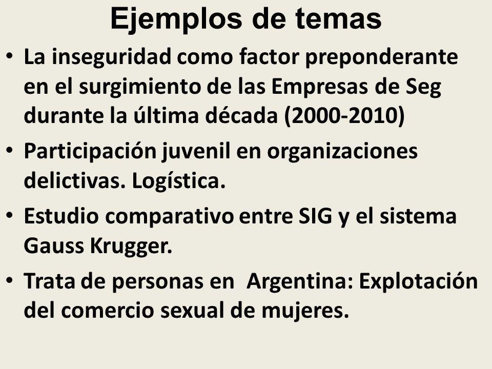 Ejemplos de temas La inseguridad como factor preponderante en el surgimiento de las Empresas de Seg durante la última década (2000-2010) Participación