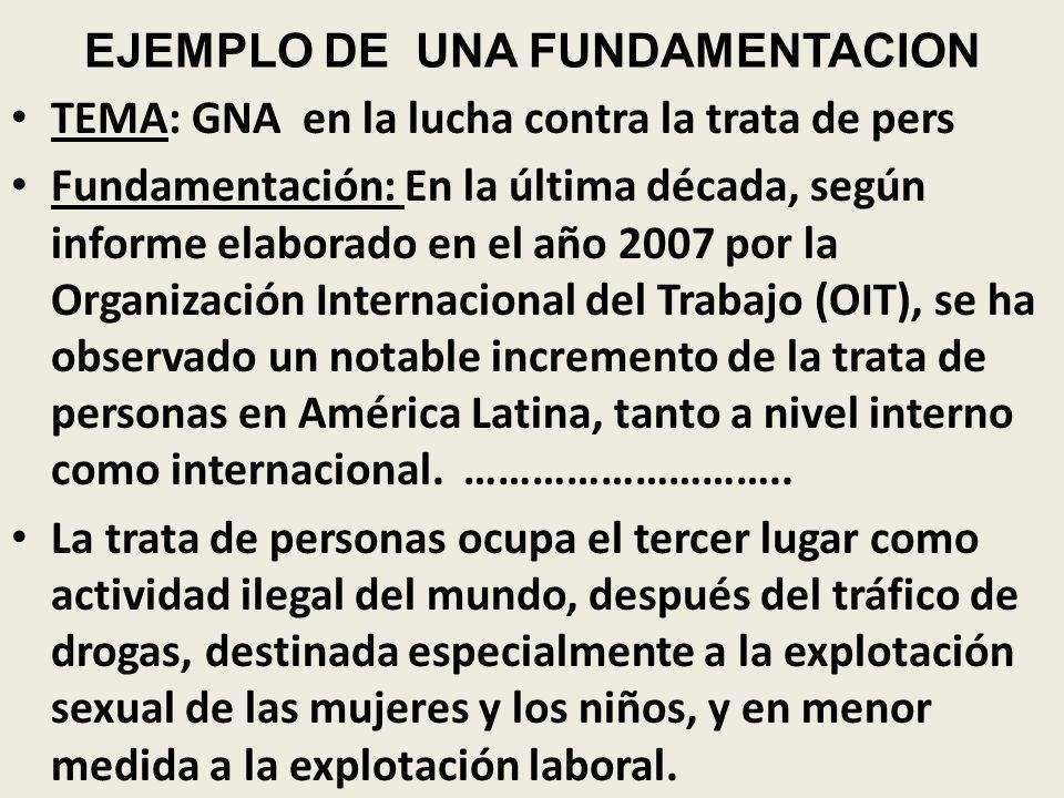 EJEMPLO DE UNA FUNDAMENTACION TEMA: GNA en la lucha contra la trata de pers Fundamentación: En la última década, según informe elaborado en el año 200