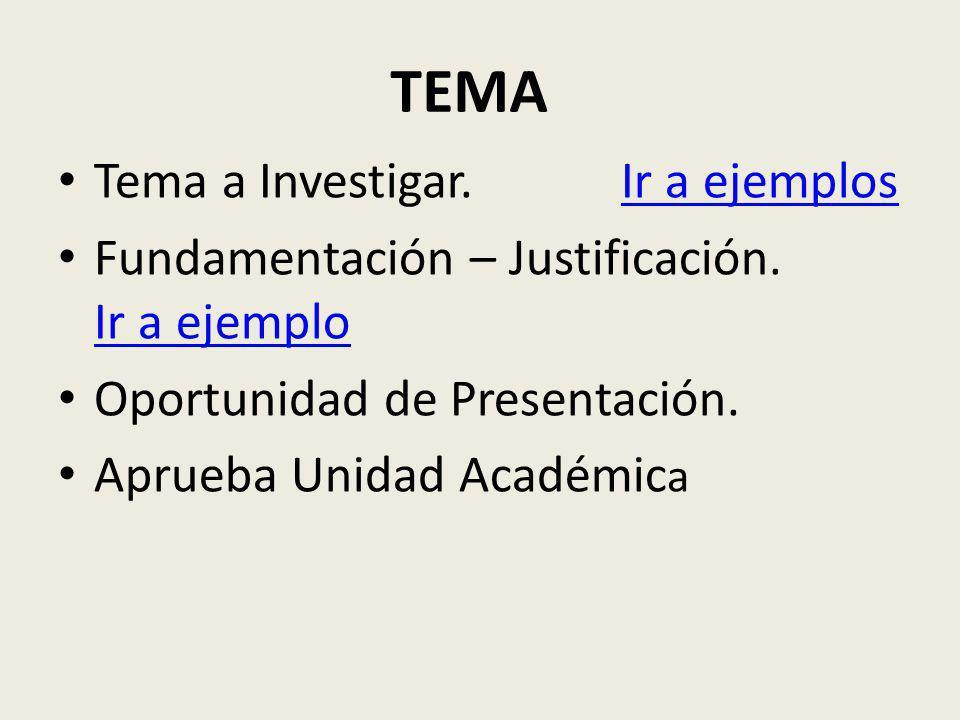 TEMA Tema a Investigar. Ir a ejemplosIr a ejemplos Fundamentación – Justificación. Ir a ejemplo Ir a ejemplo Oportunidad de Presentación. Aprueba Unid