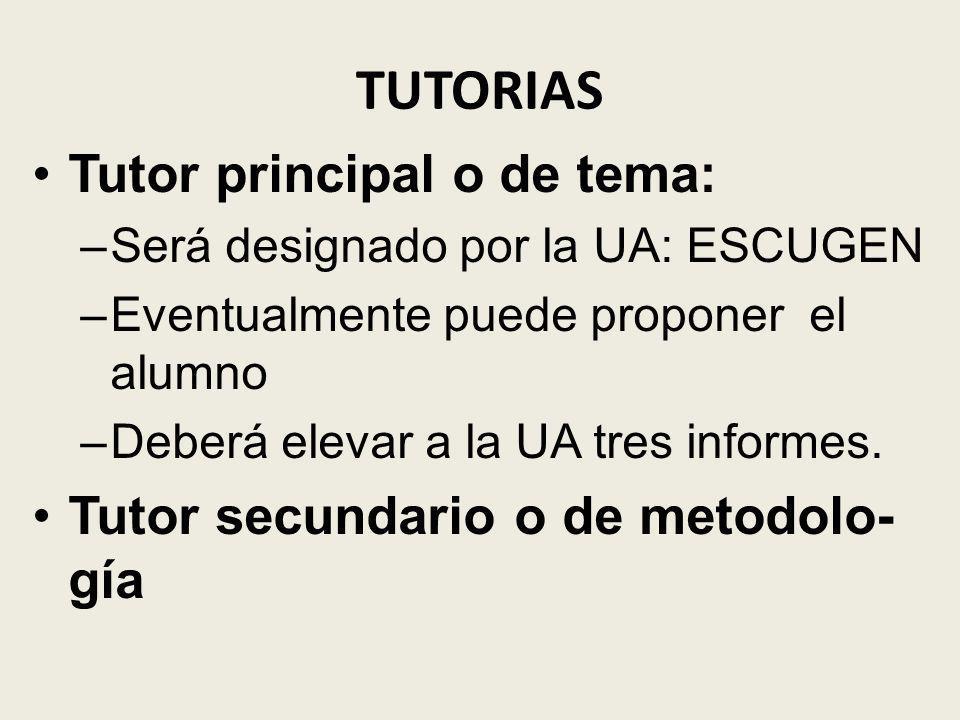 TUTORIAS Tutor principal o de tema: –Será designado por la UA: ESCUGEN –Eventualmente puede proponer el alumno –Deberá elevar a la UA tres informes. T