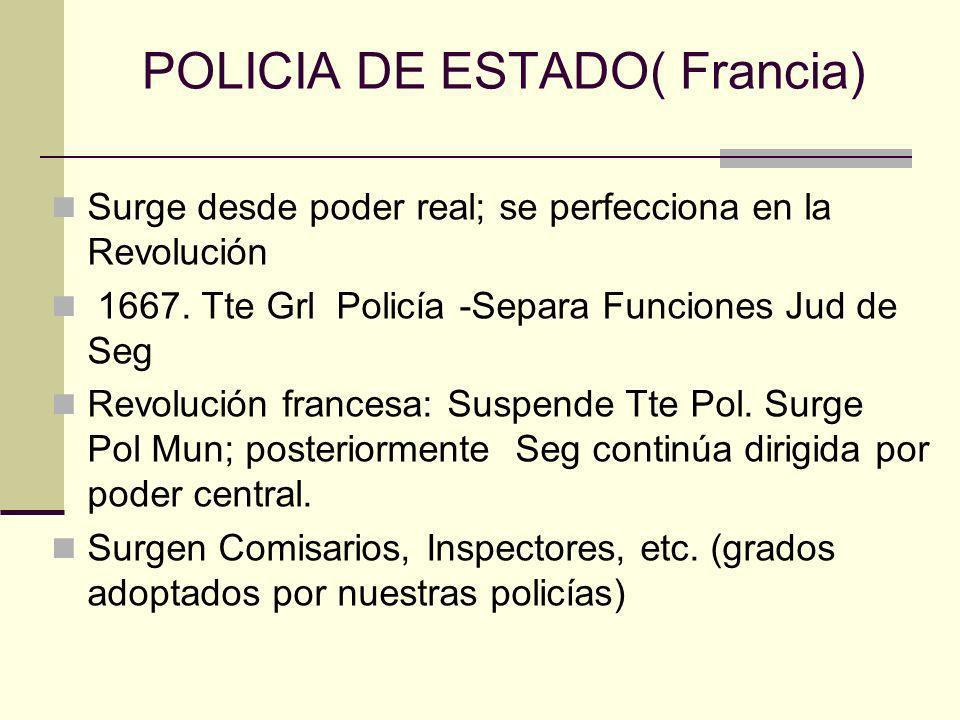 POLICIA DE ESTADO( Francia) Surge desde poder real; se perfecciona en la Revolución 1667. Tte Grl Policía -Separa Funciones Jud de Seg Revolución fran