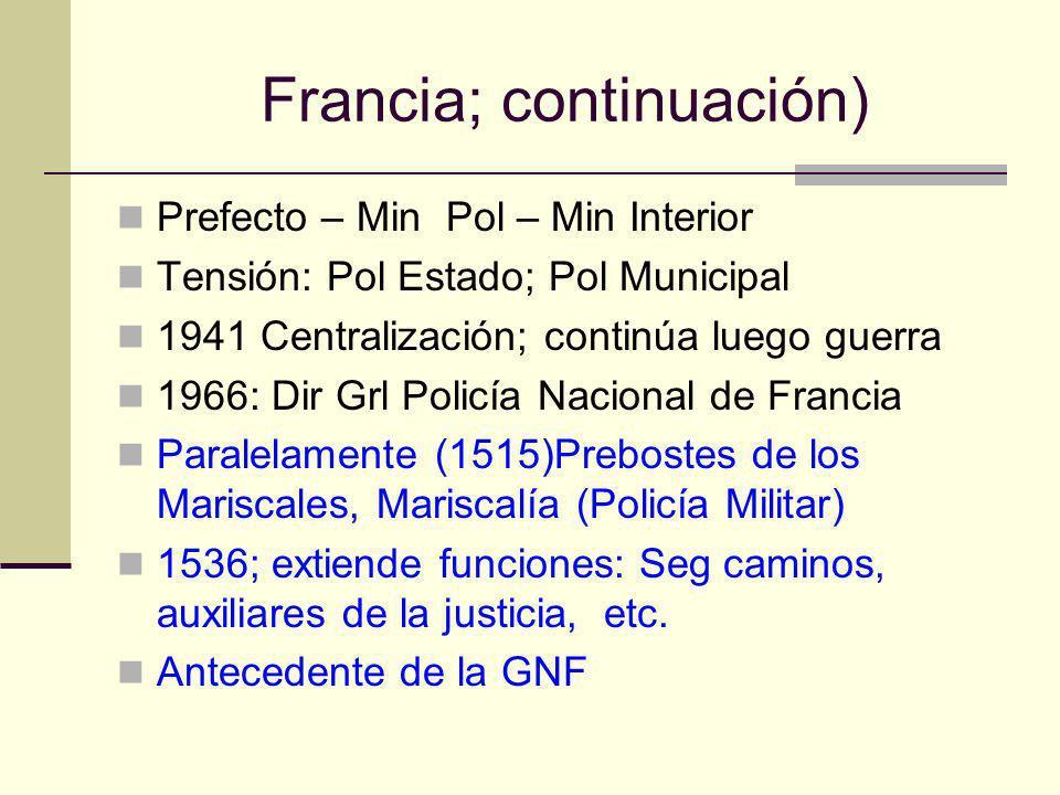 Francia; continuación) Prefecto – Min Pol – Min Interior Tensión: Pol Estado; Pol Municipal 1941 Centralización; continúa luego guerra 1966: Dir Grl P