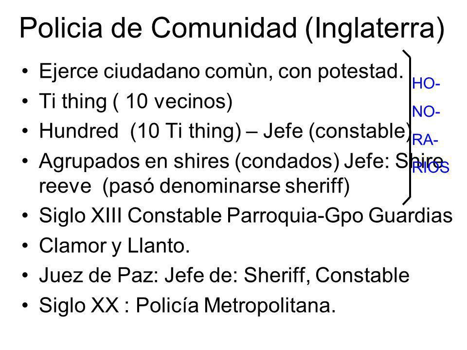 Policia de Comunidad (Inglaterra) Ejerce ciudadano comùn, con potestad. Ti thing ( 10 vecinos) Hundred (10 Ti thing) – Jefe (constable) Agrupados en s