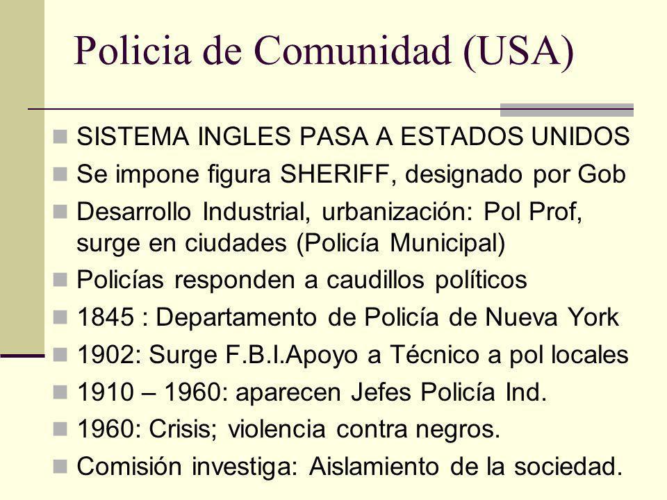 Policia de Comunidad (USA) SISTEMA INGLES PASA A ESTADOS UNIDOS Se impone figura SHERIFF, designado por Gob Desarrollo Industrial, urbanización: Pol P