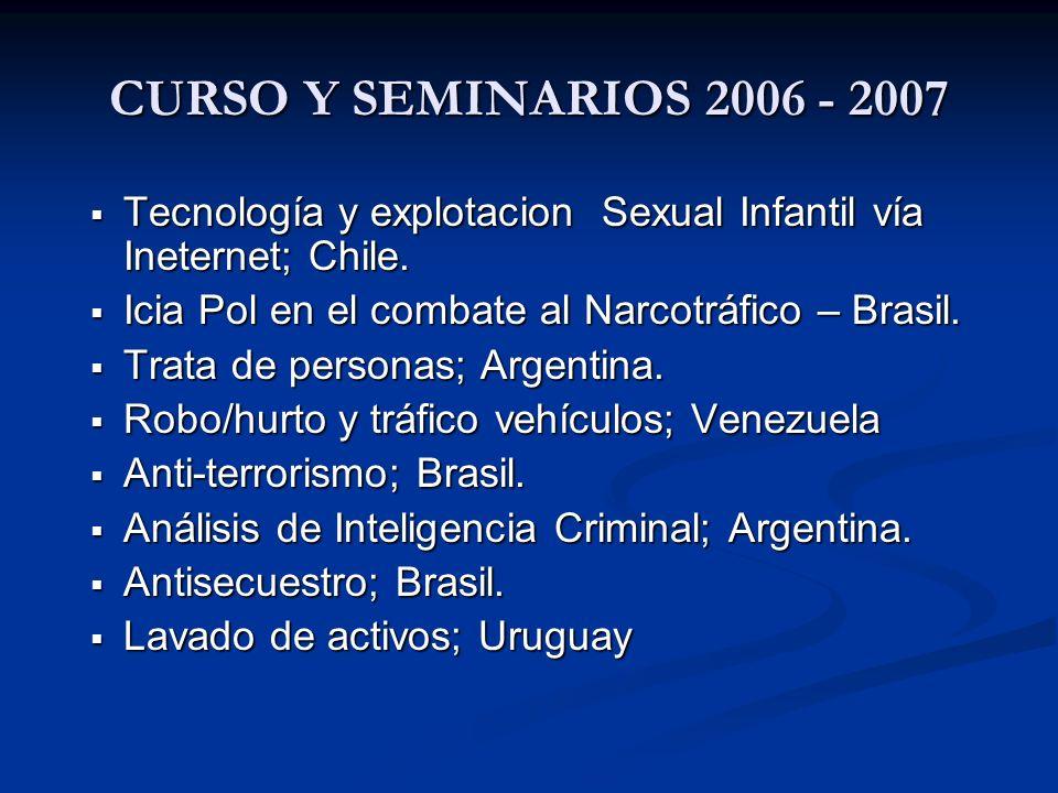 CURSO Y SEMINARIOS 2006 - 2007 Tecnología y explotacion Sexual Infantil vía Ineternet; Chile. Tecnología y explotacion Sexual Infantil vía Ineternet;