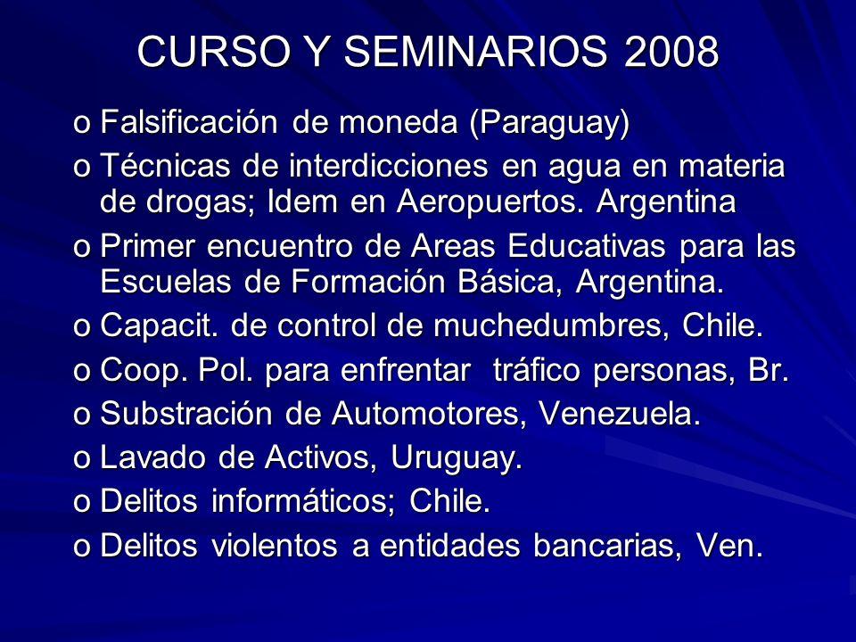 CURSO Y SEMINARIOS 2008 oFalsificación de moneda (Paraguay) oTécnicas de interdicciones en agua en materia de drogas; Idem en Aeropuertos. Argentina o