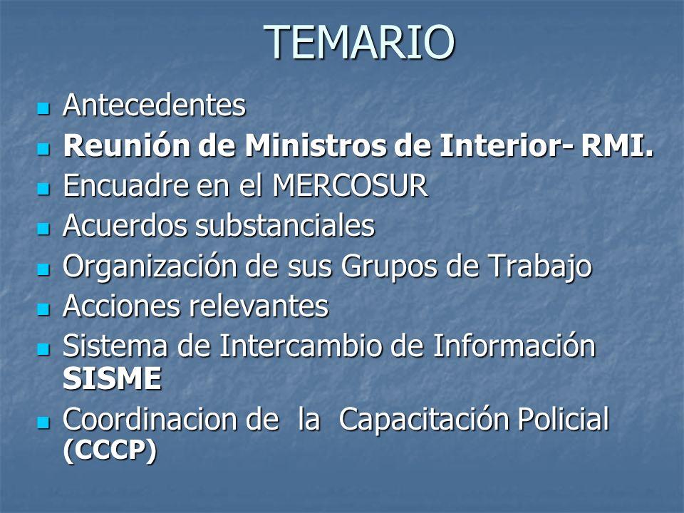 TEMARIO Antecedentes Antecedentes Reunión de Ministros de Interior- RMI. Reunión de Ministros de Interior- RMI. Encuadre en el MERCOSUR Encuadre en el