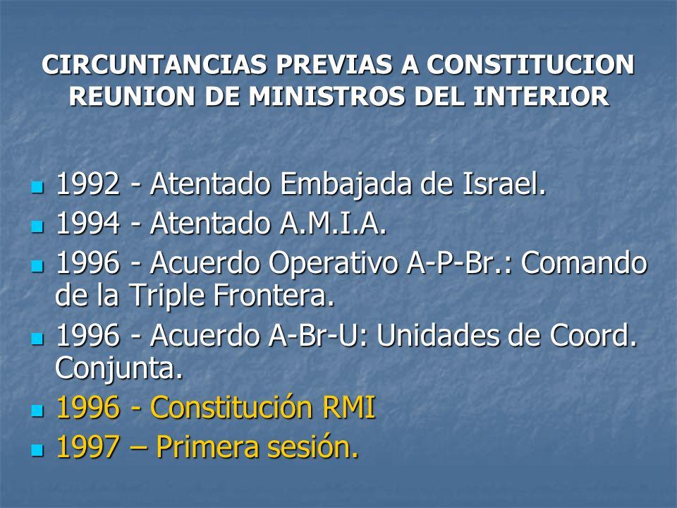 CIRCUNTANCIAS PREVIAS A CONSTITUCION REUNION DE MINISTROS DEL INTERIOR 1992 - Atentado Embajada de Israel. 1992 - Atentado Embajada de Israel. 1994 -