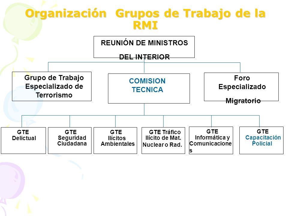 Organización Grupos de Trabajo de la RMI GTE Informática y Comunicacione s GTE Tráfico Ilícito de Mat. Nuclear o Rad. GTE Seguridad Ciudadana GTE Capa