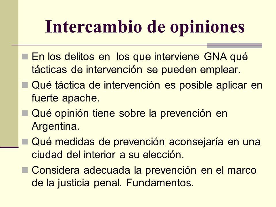 Intercambio de opiniones En los delitos en los que interviene GNA qué tácticas de intervención se pueden emplear. Qué táctica de intervención es posib