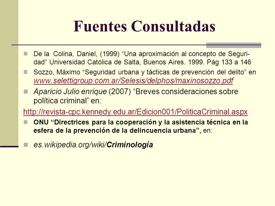 Fuentes Consultadas De la Colina, Daniel, (1999) Una aproximación al concepto de Seguri- dad Universidad Católica de Salta, Buenos Aires. 1999. Pág 13