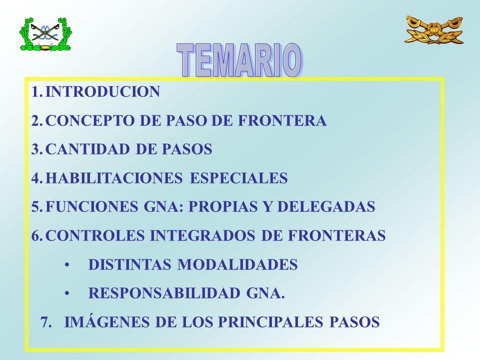 1.INTRODUCION 2.CONCEPTO DE PASO DE FRONTERA 3.CANTIDAD DE PASOS 4.HABILITACIONES ESPECIALES 5.FUNCIONES GNA: PROPIAS Y DELEGADAS 6.CONTROLES INTEGRAD