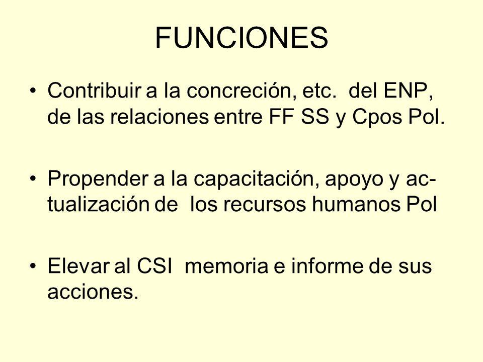 FUNCIONES Contribuir a la concreción, etc. del ENP, de las relaciones entre FF SS y Cpos Pol. Propender a la capacitación, apoyo y ac- tualización de