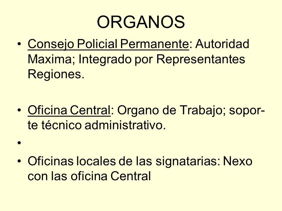 ORGANOS Consejo Policial Permanente: Autoridad Maxima; Integrado por Representantes Regiones. Oficina Central: Organo de Trabajo; sopor- te técnico ad