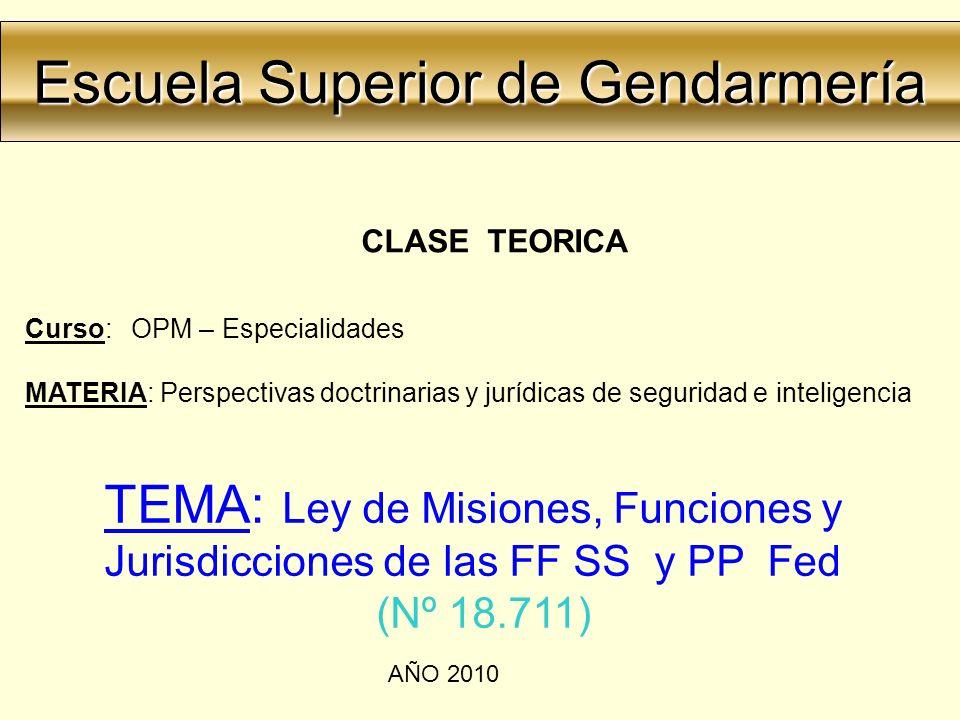 Escuela Superior de Gendarmería Escuela Superior de Gendarmería CLASE TEORICA Curso: OPM – Especialidades MATERIA: Perspectivas doctrinarias y jurídic