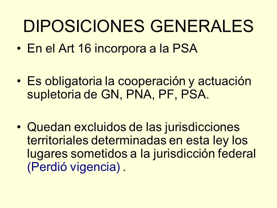 DIPOSICIONES GENERALES En el Art 16 incorpora a la PSA Es obligatoria la cooperación y actuación supletoria de GN, PNA, PF, PSA. Quedan excluidos de l