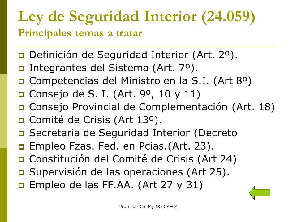 Profesor: Cte My (R) GRECA LEY de Def.Nac.(23.554) Principales temas a tratar Finalidad (Art.