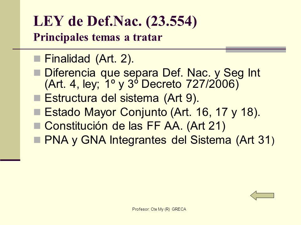 Profesor: Cte My (R) GRECA LEY de Def.Nac. (23.554) Principales temas a tratar Finalidad (Art. 2). Diferencia que separa Def. Nac. y Seg Int (Art. 4,