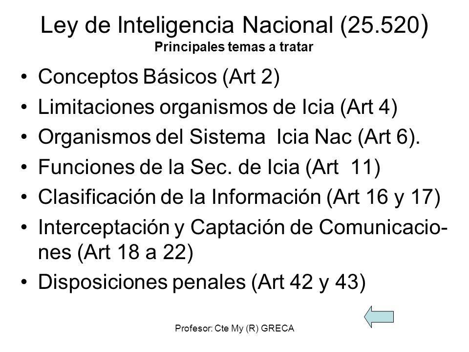 Profesor: Cte My (R) GRECA Ley de Inteligencia Nacional (25.520 ) Principales temas a tratar Conceptos Básicos (Art 2) Limitaciones organismos de Icia