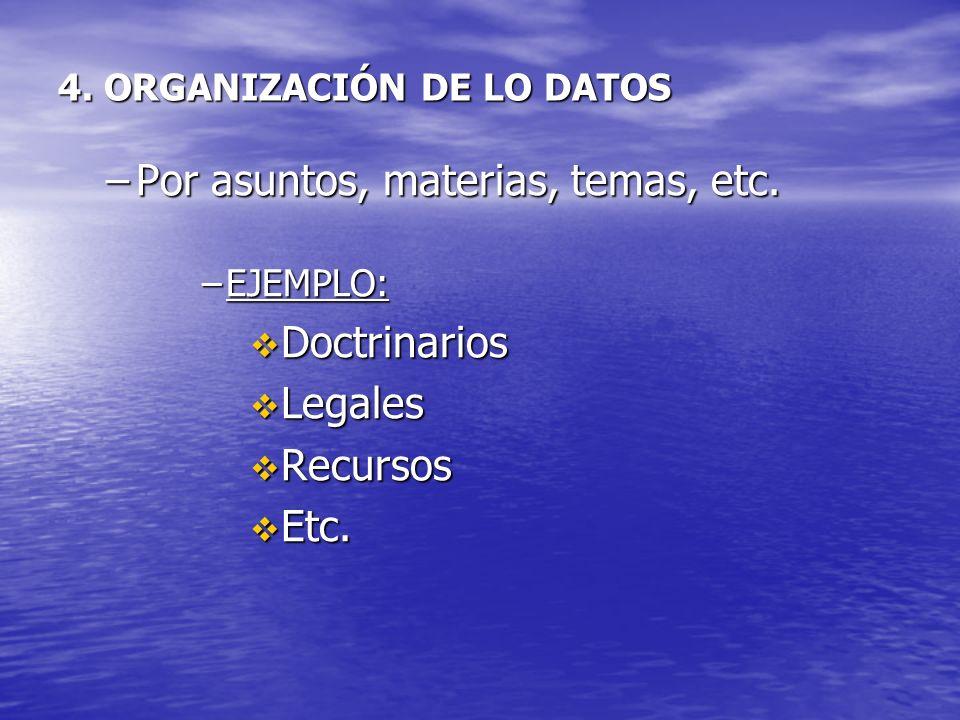 4. ORGANIZACIÓN DE LO DATOS –Por asuntos, materias, temas, etc. –EJEMPLO: Doctrinarios Doctrinarios Legales Legales Recursos Recursos Etc. Etc.