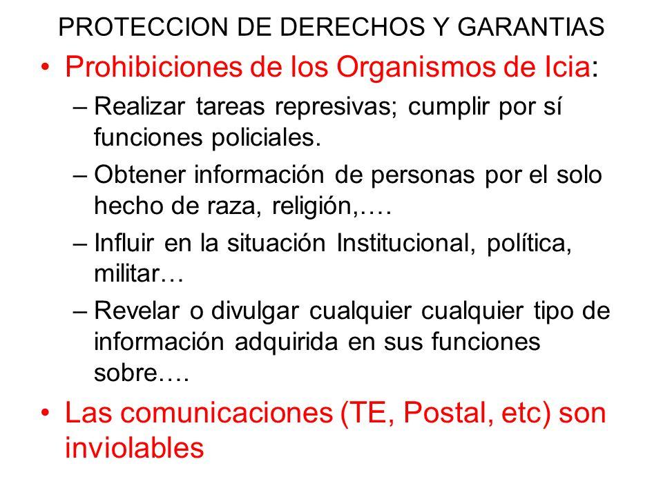 PROTECCION DE DERECHOS Y GARANTIAS Prohibiciones de los Organismos de Icia: –Realizar tareas represivas; cumplir por sí funciones policiales. –Obtener