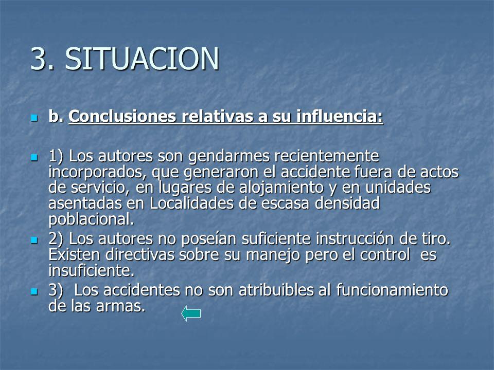 3.SITUACION b. Conclusiones relativas a su influencia: b.
