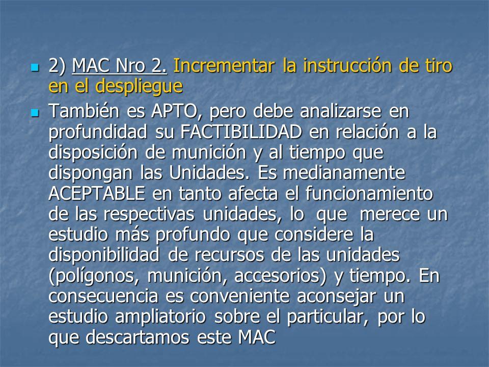 2) MAC Nro 2.Incrementar la instrucción de tiro en el despliegue 2) MAC Nro 2.