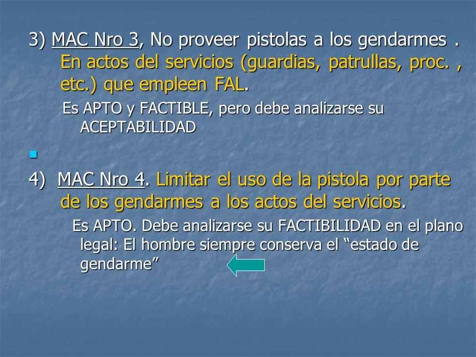 3) MAC Nro 3, No proveer pistolas a los gendarmes.