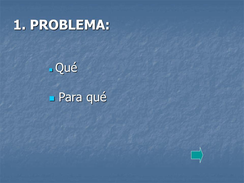 1. PROBLEMA: Qué Qué Para qué Para qué