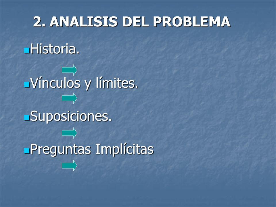 2.ANALISIS DEL PROBLEMA Historia. Historia. Vínculos y límites.