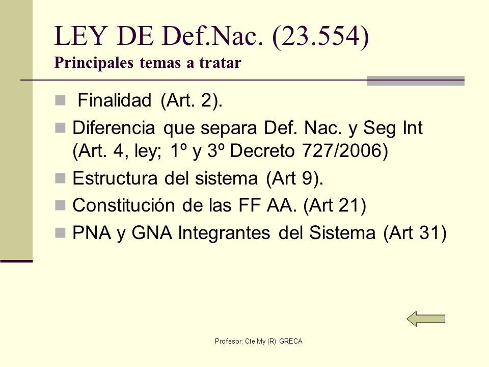Profesor: Cte My (R) GRECA Ley de Inteligencia Nacional (25.520) Principales temas a tratar Conceptos Básicos (Art 2) Limitaciones organismos de Icia (Art 4) Organismos del Sistema Icia Nac (Art 6).