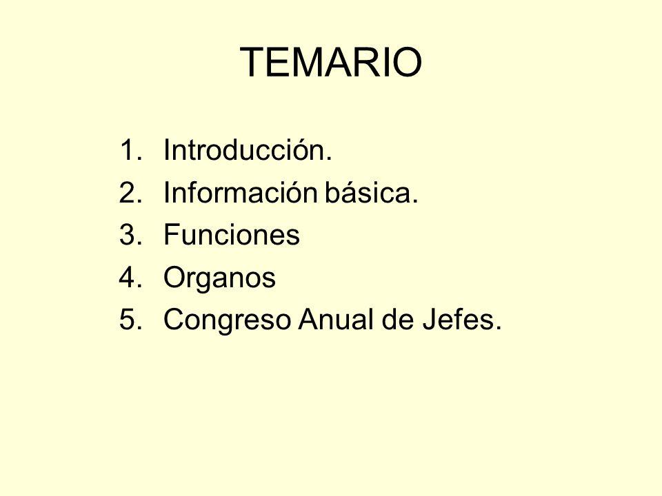 TEMARIO 1.Introducción. 2.Información básica. 3.Funciones 4.Organos 5.Congreso Anual de Jefes.