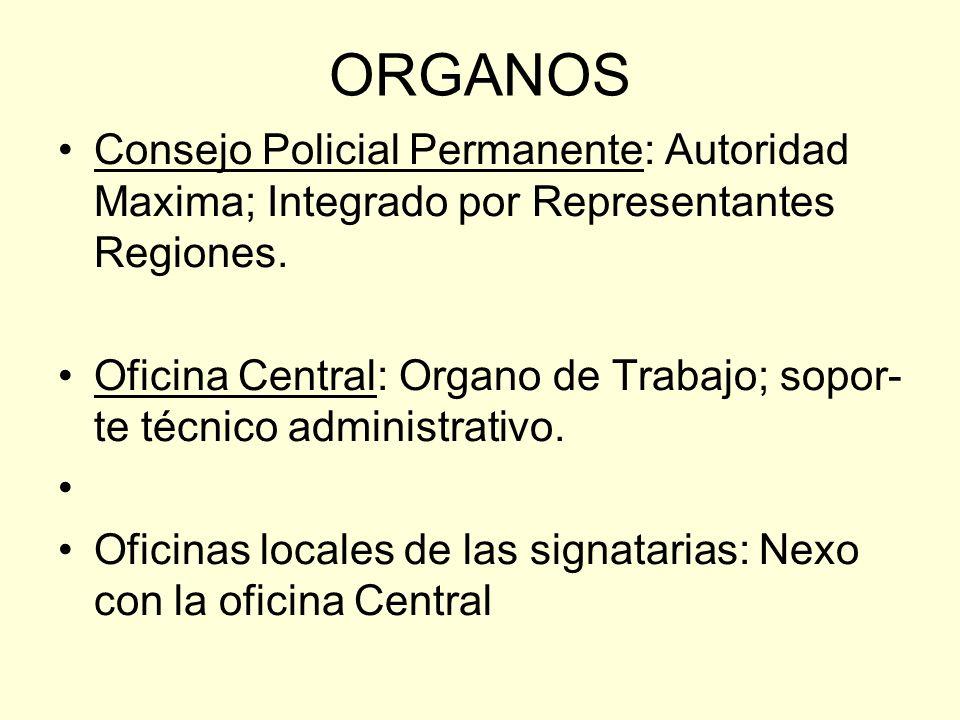 ORGANOS Consejo Policial Permanente: Autoridad Maxima; Integrado por Representantes Regiones.